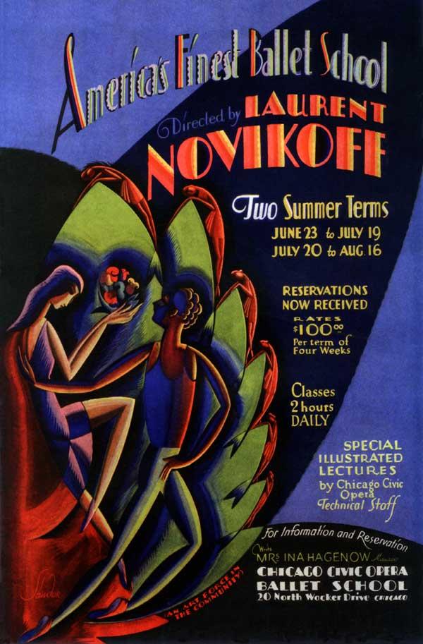 1930s ART DECO CHICAGO OPERA BALLET DANCE SCHOOL POSTER ...
