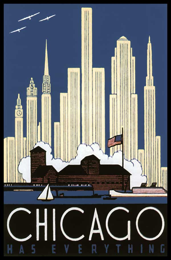 1930'S CHICAGO ADVERTISING ART DECO SKYLINE POSTER | eBay