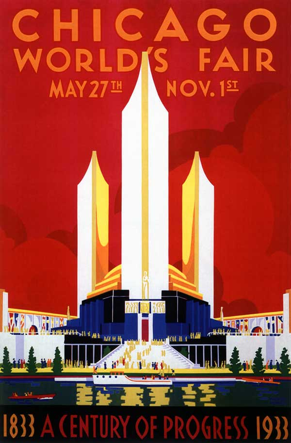 cr 1933 chicago worlds fair expo art deco pavilion poster advertising history ebay. Black Bedroom Furniture Sets. Home Design Ideas